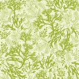 Nahtloses Muster der grünen Unterwassermeerespflanze Lizenzfreies Stockfoto