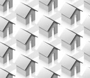 Nahtloses Muster der grauen kleinen isometrischen Häuser Stockbild
