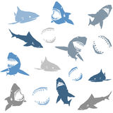 Nahtloses Muster der Haifischschattenbilder Lokalisiertes Blau Stockfotos