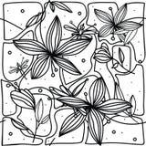 nahtloses Muster der Hand-Zeichnung mit Blumenlilie und -libelle auf weißem Hintergrund Stockbilder
