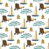 Nahtloses Muster der Handgezogenen Reise mit Yacht, Sandburg, Regenschirm, Liege vektor abbildung
