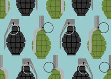 Nahtloses Muster der Handgranate Militärmunitionsbeschaffenheit Stockfotos