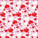 Nahtloses Muster der Herzen auf weißem Hintergrund Auch im corel abgehobenen Betrag Lizenzfreie Stockbilder