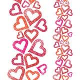 Nahtloses Muster der Herzen, vertikale Zusammensetzung, Liebe lizenzfreie abbildung