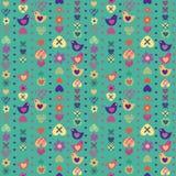 Nahtloses Muster der Herzvogel-Blume auf blauem Hintergrund Stockfotos