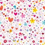Nahtloses Muster der Herzvogelblumenblumennatur lizenzfreie abbildung