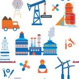 Nahtloses Muster der Industrie und des Transportes Stockfoto