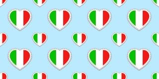 Nahtloses Muster der italienischen Flagge Vektor Italien kennzeichnet stikers Liebesherzsymbole Sprachkurse, Sportseiten, Reise,  vektor abbildung