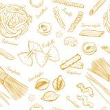 Nahtloses Muster der italienischen Teigwaren Verschiedene Typen von Teigwaren Vektorhand gezeichnete Abbildung Lokalisierte Gegen vektor abbildung