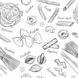 Nahtloses Muster der italienischen Teigwaren Verschiedene Typen von Teigwaren Vektorhand gezeichnete Abbildung Lokalisierte Gegen stock abbildung