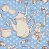 Nahtloses Muster der Küchegerätweinlese Lizenzfreie Stockfotografie