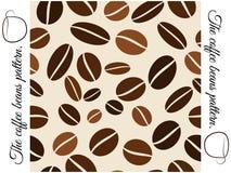Nahtloses Muster der Kaffeebohnen. Lizenzfreie Stockbilder
