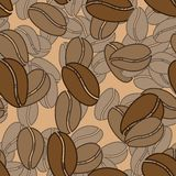 Nahtloses Muster der Kaffeebohnen Stockfotografie