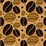 Nahtloses Muster der Kaffeebohnen Lizenzfreies Stockfoto