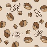 Nahtloses Muster der Kaffeebohnen - Vektorillustration Stockbild