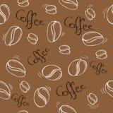 Nahtloses Muster der Kaffeebohnen - Vektorillustration Stockfotografie