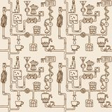 Nahtloses Muster der Kaffeefabrik Lizenzfreie Stockfotografie
