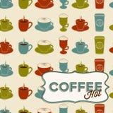 Nahtloses Muster der Kaffeetasse mit Marke Lizenzfreies Stockbild