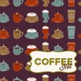 Nahtloses Muster der Kaffeetasse mit Marke Lizenzfreies Stockfoto