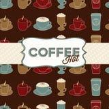 Nahtloses Muster der Kaffeetasse mit Marke. Weinlese Lizenzfreie Stockfotografie