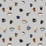 Nahtloses Muster der Kaffeetassen Stockbilder