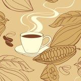 Nahtloses Muster der Kakaobohnen Stockfotografie