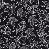 Nahtloses Muster der Kakaobohnen Lizenzfreie Stockbilder