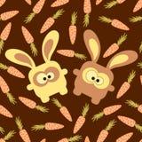 Nahtloses Muster der Kaninchen und der Karotten Stockfotografie
