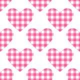Nahtloses Muster der karierten Herzen Stock Abbildung