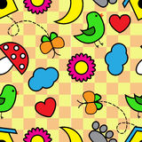 Nahtloses Muster der Karikatur mit Flora und Fauna Lizenzfreies Stockfoto