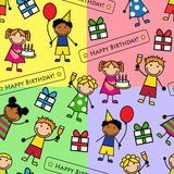 Nahtloses Muster der Karikatur mit Geburtstagsfeier stock abbildung