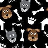 Nahtloses Muster der Karikatur mit Hunden vektor abbildung