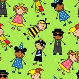 Nahtloses Muster der Karikatur mit Kindern in den Karnevalskostümen Stockfotografie