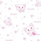 Nahtloses Muster der Karikatur mit netten catsny Katzen Stockfotografie