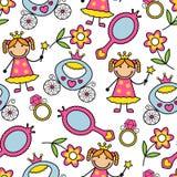 Nahtloses Muster der Karikatur mit Prinzessin und ihrem Eigentum lizenzfreie abbildung