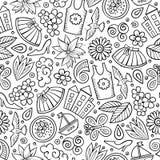 Nahtloses Muster der Karikatur-nette Hand gezeichnetes Frühlings-Saison lizenzfreie abbildung