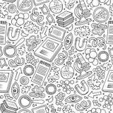 Nahtloses Muster der Karikatur-nette Hand gezeichnetes Wissenschaft Stockbilder