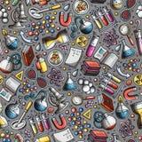 Nahtloses Muster der Karikatur-nette Hand gezeichnetes Wissenschaft Lizenzfreies Stockbild