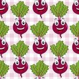 Nahtloses Muster der Karikatur-roten Rübe oder des Mangoldgemüses Lizenzfreie Stockbilder