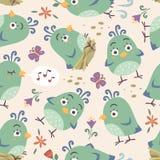 nahtloses Muster der Karikaturart-Vögel Lizenzfreies Stockbild