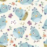 nahtloses Muster der Karikaturart-Vögel Lizenzfreie Stockbilder