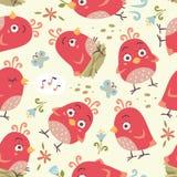 nahtloses Muster der Karikaturart-Vögel Stockfotos