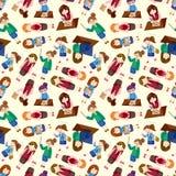 Nahtloses Muster der Karikaturbüro-Arbeitnehmerin Lizenzfreies Stockbild