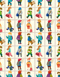 Nahtloses Muster der Karikaturreisen-Leute Lizenzfreie Stockfotografie