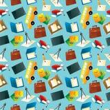 Nahtloses Muster der Karikaturschule-Ikonen Lizenzfreie Stockfotos