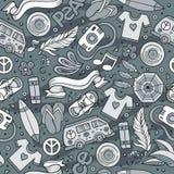 Nahtloses Muster der Karikaturvektor-Hippie Stockbild