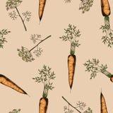 Nahtloses Muster der Karotte und des Dills Lizenzfreie Stockfotos