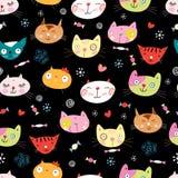 Nahtloses Muster der Katzen Lizenzfreie Stockfotos