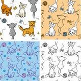 Nahtloses Muster der Katzen Stockfotos
