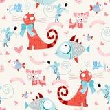 Nahtloses Muster der Katzen und der Fische mit Mäusen Lizenzfreies Stockfoto